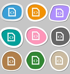 Script icon symbols Multicolored paper stickers vector
