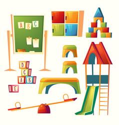 set cartoon kindergarten children vector image