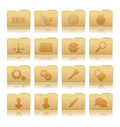 Set of folders with symbols vector image