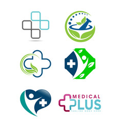 set of medical logo vector image