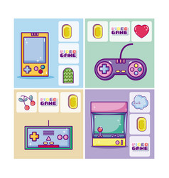 set of retro videogames cards vector image