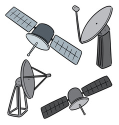 set of satellite and satellite dish vector image