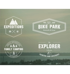 Set summer explorer family camp badge logo vector