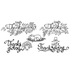 Set thanksgiving lettering isolated on white vector