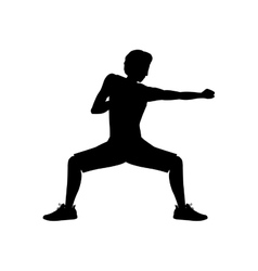 silhouette man martial arts defense position punch vector image