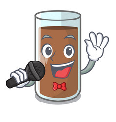Singing fresh chocolate splash on pouring mascot vector