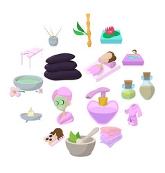 spa cartoon icons set vector image