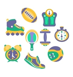 Sports And Fitness Equipment Objects Set vector image vector image