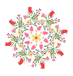spring flowers radial pattern on a white vector image