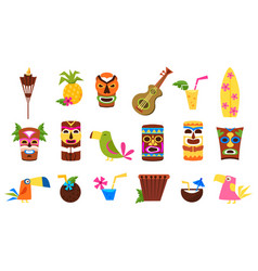 Symbols of hawaii set tiki tribal masks tropical vector