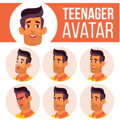 teen boy avatar set arab muslim face vector image