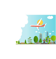 travel banner background with airplane vector image
