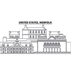 united states norfolk line skyline vector image