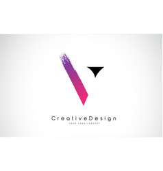 V letter logo design with creative pink purple vector