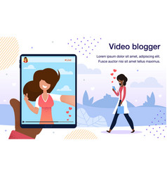 video blogger live stream poster template vector image