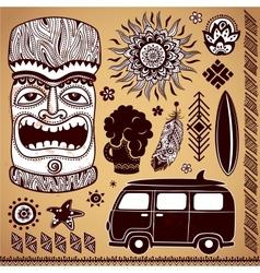 Vintage Aloha Tiki set vector image