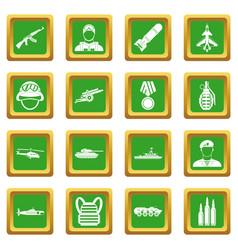 War icons set green vector