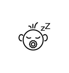 web line icon sleeping child black on white vector image