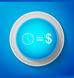 white time is money sign on blue background vector image