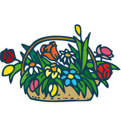 Wicker basket with flowers vector