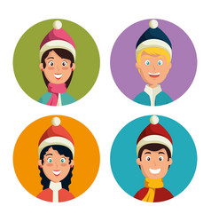 winter sports happy people faces vector image