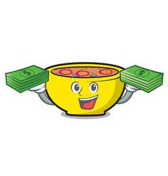 With money bag soup union mascot cartoon vector