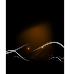 Yellow light in dark space with waves vector image