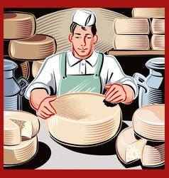 Young cheese maker vector