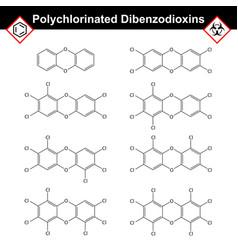 polychlorinated 14- dibenzodioxins dioxine class vector image