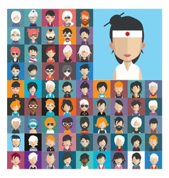 Set of people icons in flat style with faces 24 a vector image vector image