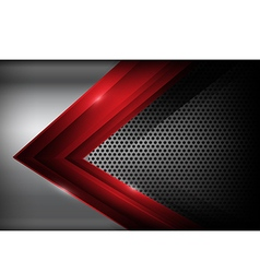 Dark chrome steel and red overlap element abstract vector image vector image