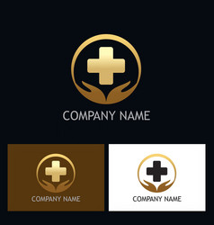 gold heath care medic logo vector image vector image
