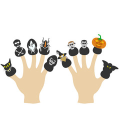 hands with halloween puppets vector image vector image