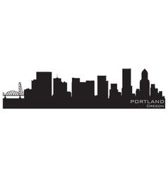 portland oregon skyline detailed silhouette vector image vector image