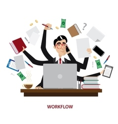 Busy businessman at workplace vector image vector image