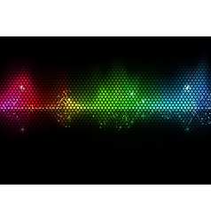 Colorful Audio Wave and Wire Mesh Pattern vector image