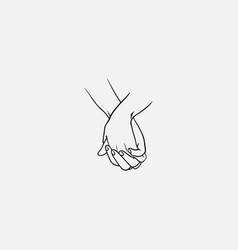 Holding hands with interlocked or intertwined vector