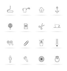 Set icon black line vector