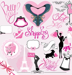 Set of Silhouettes of glamor clothes and accessori vector image vector image