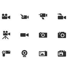 12 Camera Icons vector image vector image