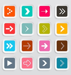Arrows Set on Colorful Square Papers Isolated on vector image vector image