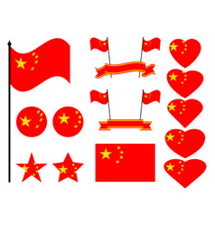 china flag set collection of symbols flag vector image