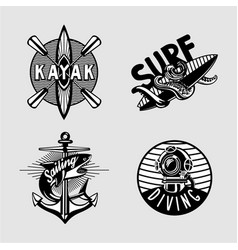 water sport vintage embleme set with kayak scuba vector image