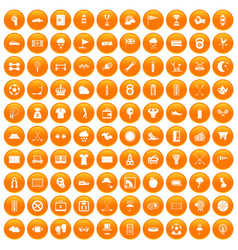 100 golf icons set orange vector image