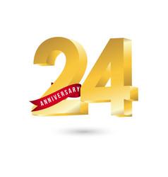 24 year anniversary template design vector