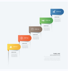 5 data step infographics timeline tab paper index vector