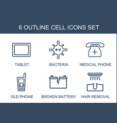 6 cell icons vector