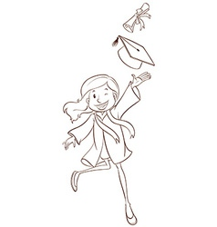 A simple sketch of a girl graduating vector