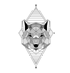 Abstract geometry bear design tattoo image vector