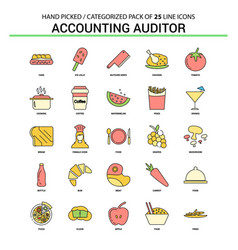 Accounting auditor flat line icon set - business vector